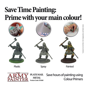 The Army Painter Primer Plate Mail Metal 400ml Acrylic Spray, Miniature Painting
