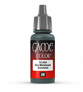 Vallejo Game Color Gunmetal Metal Paint, 17ml