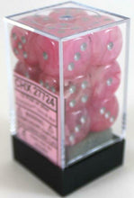 Load image into Gallery viewer, 6 Sided Dice - 12 D6 Set Ghostly Glow Pink w/ Silver Numbers Chessex CHX27724