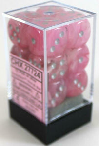 6 Sided Dice - 12 D6 Set Ghostly Glow Pink w/ Silver Numbers Chessex CHX27724
