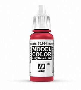 Vallejo Model Color Transparent Red Paint, 17ml
