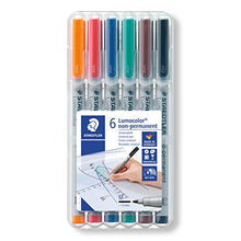 Load image into Gallery viewer, Staedtler Lumocolor Non-Permanent Overhead Projection Markers assorted colors medium 1.0 mm set of 6