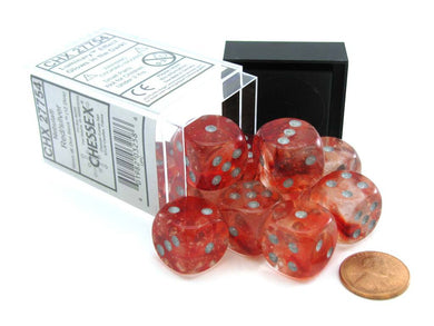 Chessex Nebula: 16mm d6 Red/silver Luminary Dice Block (12 Dice)
