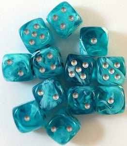 6 Sided Dice - 12 D6 Set Cirrus Aqua Blue w/ Silver Numbers Chessex CHX27665