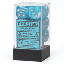 Load image into Gallery viewer, 6 Sided Dice - 12 D6 Set Cirrus Aqua Blue w/ Silver Numbers Chessex CHX27665