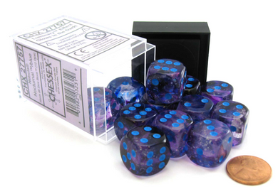 Chessex Nebula: 16mm d6 Nocturnal / Blue Luminary Dice Block (12 dice)