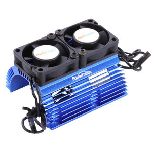 Power Hobby Anodized Aluminum Twin Turbo Fans and Heat Sink (Blue) for 1:8 Scale