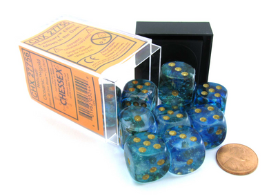 Chessex Nebula: 16mm d6 Oceanic / Gold Luminary Dice Block (12 dice)