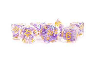 MDG Pearl Dice Purple w/ Gold Numbers 16mm Resin Poly Dice Set