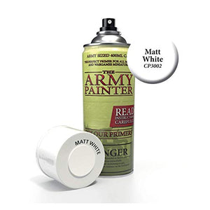 The Army Painter Primer Matt White 400ml Acrylic Spray for Miniature Painting