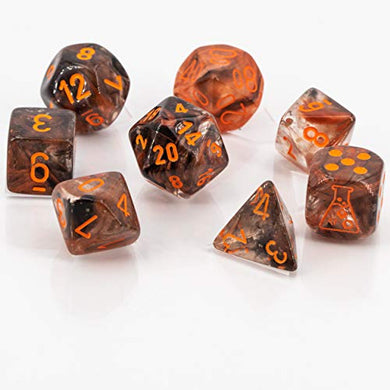 Chessex Lab Dice 4 Nebula CopperMatrix/ Orange Boxed Set