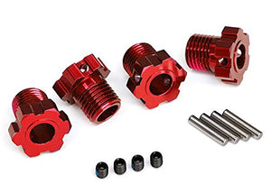 Traxxas 8654R Aluminum 17mm Splined Wheel Hubs, Red for Maxx, WideMaxx, E-Revo