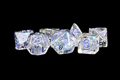 MDG Pearl Dice w/ Purple Numbers 16mm Resin Poly Dice Set