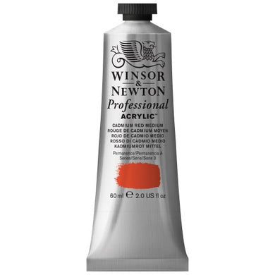 Winsor & Newton Professional Acrylic Color Paint, 60ml Tube, Cadmium Red Medium