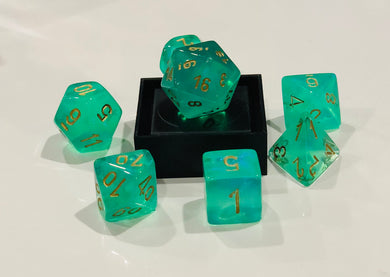 Chessex CHX27425 Dice-Borealis Set, Light Green/Gold