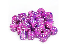 Load image into Gallery viewer, 6 Sided Dice 12mm - 36 D6 Set Festive Violet w/ White Numbers Chessex CHX27857