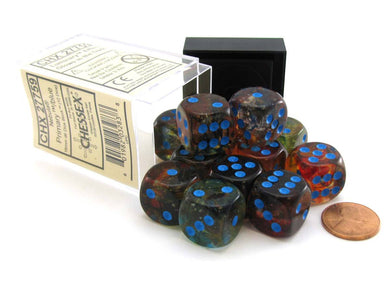 Chessex Nebula: 16mm d6 Primary / Blue Luminary Dice Block ( 12 dice )
