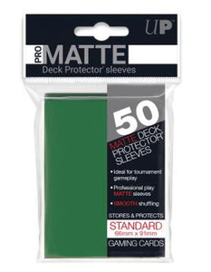 Ultrapro Pro Matte Green Non-Glare Deck Protectors (Regular Size- 50 Ct)