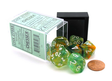 Chessex Nebula: 16mm d6 Spring / White Luminary Dice Block (12 dice)