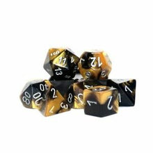 Load image into Gallery viewer, Polyhedral 7-Die Set Gemini Black Gold w/ Silver Numbers Chessex CHX26451