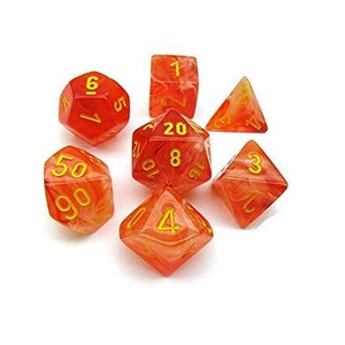 Chessex CHX 27523 Dice-Ghostly Glow 7Pc Set, Orange/Yellow