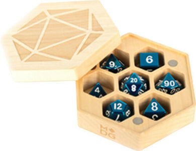 Wood Hex Chest Dice Case: Maple Holds 1 Set of Dice