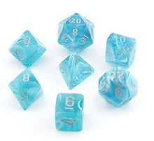 Load image into Gallery viewer, Polyhedral 7-Die Set Cirrus Aqua Blue w/ Silver Numbers Chessex CHX27465