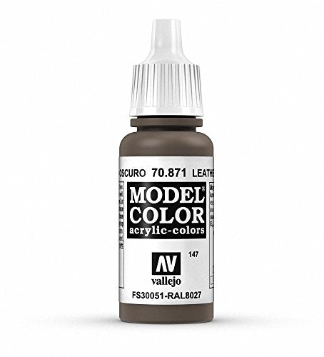 Vallejo Model Color Leather Brown Paint, 17ml