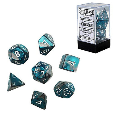Chessex CHX 26456 Dice-Gemini Steel-Teal/White Set, One Size, Multicolor