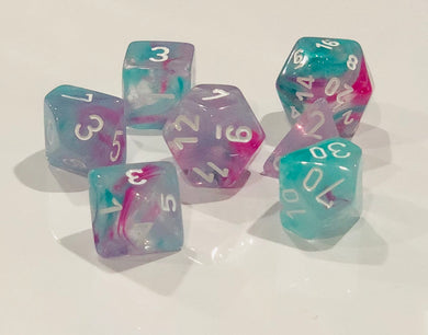 Wisteria Nebula Luminary Dice with White Numbers 16mm (5/8in) Set of 7 Chessex