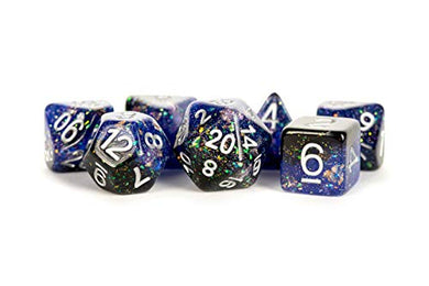 MDG Metallic Dice Games 7-Set Eternal Blue and Black with White