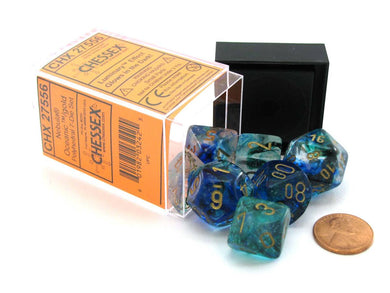 Chessex Nebula: Polyhedral Oceanic / Gold Luminary 7 - Dice Set