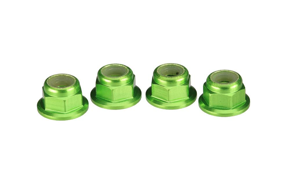 Traxxas 1747G 4mm Aluminum Flanged Serrated Nuts Green