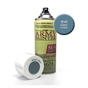 The Army Painter Color Primer, Wolf Grey, 400 ml, 13.5 oz - Acrylic Spray Undercoat for Miniature Painting