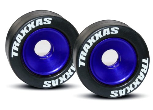 Traxxas 5186A Rubber Tires Mounted Blue-ANDZD Aluminum Wheelie Bar Wheels