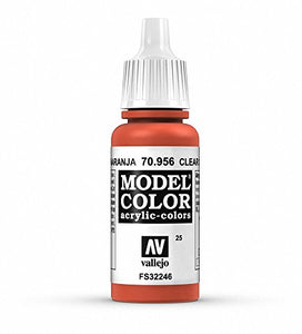 Vallejo Model Color Acrylic Paint, Clear Orange 17ml
