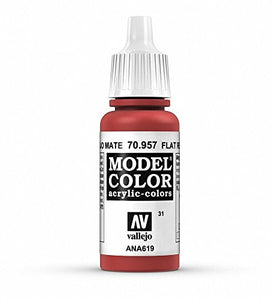 Vallejo Model Color Acrylic Paint, Flat Red 17ml