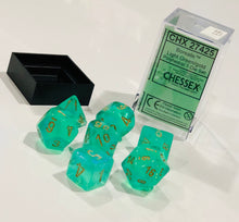 Load image into Gallery viewer, Chessex CHX27425 Dice-Borealis Set, Light Green/Gold