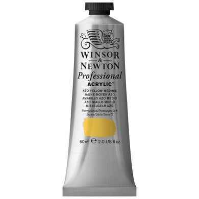 Winsor & Newton Professional Acrylic Color Paint, 60ml Tube, Azo Yellow Medium