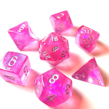 Load image into Gallery viewer, Polyhedral 7-Die Borealis Set Pink w/ Silver Numbers Chessex CHX27404
