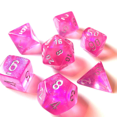 Polyhedral 7-Die Borealis Set Pink w/ Silver Numbers Chessex CHX27404
