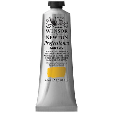Winsor & Newton Professional Acrylic Color Paint, 60ml Tube, Cadmium Yellow Medium