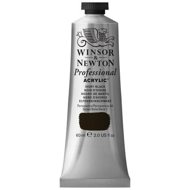 Winsor & Newton Professional Acrylic Color Paint, 60ml Tube, Ivory Black