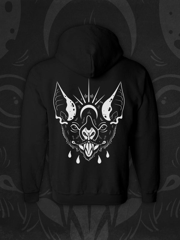 Vampire bat, bat, heart, tattoo inspired design, zip-up hoodie, tattoo style bat, tattoo inspired