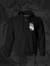 Load image into Gallery viewer, Vampire bat, bat, heart, tattoo inspired design, zip-up hoodie, tattoo style bat, tattoo inspired