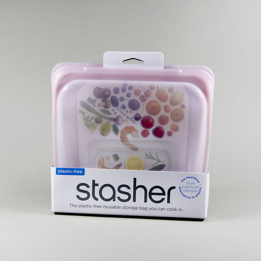 Stasher Bag Silikonepose Opbevaring - Rose Quartz - Sandwich