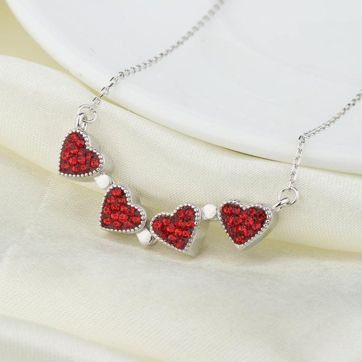 Four Leaf Clover Heart Crystal Necklace - PuraVanity
