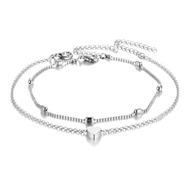 Simple Heart Anklet - PuraVanity