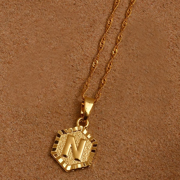 Hexagon Initial Letter Necklace - PuraVanity