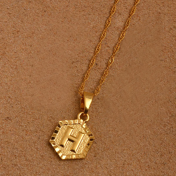 Hexagon Initial Letter Necklace
